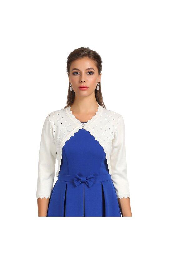 Bolero alb tricotat 6095