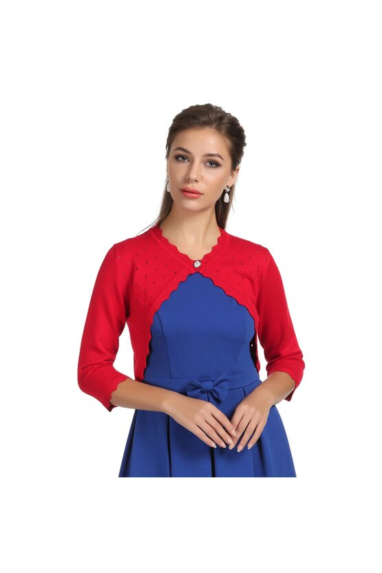 Bolero rosu tricotat 6080