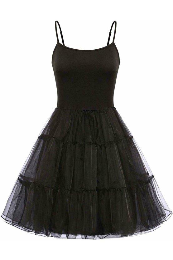 Furou rochie negru din satin 4649
