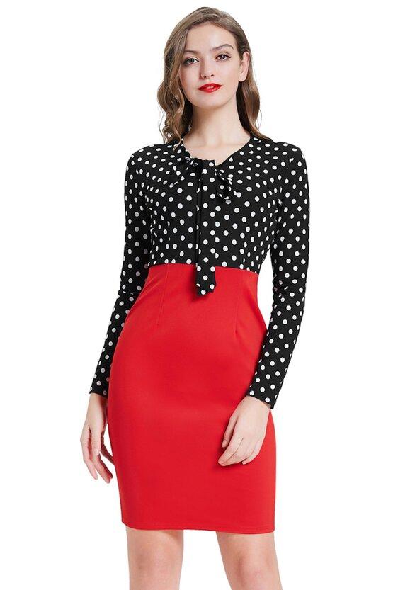 Rochie Atena rosu-negru 3809