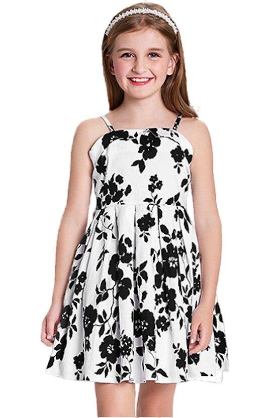 Rochie Clara alba cu flori negre 5201