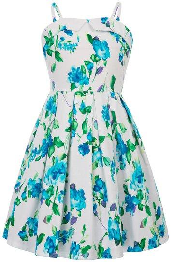 Rochie Clara cu flori verzi albastre