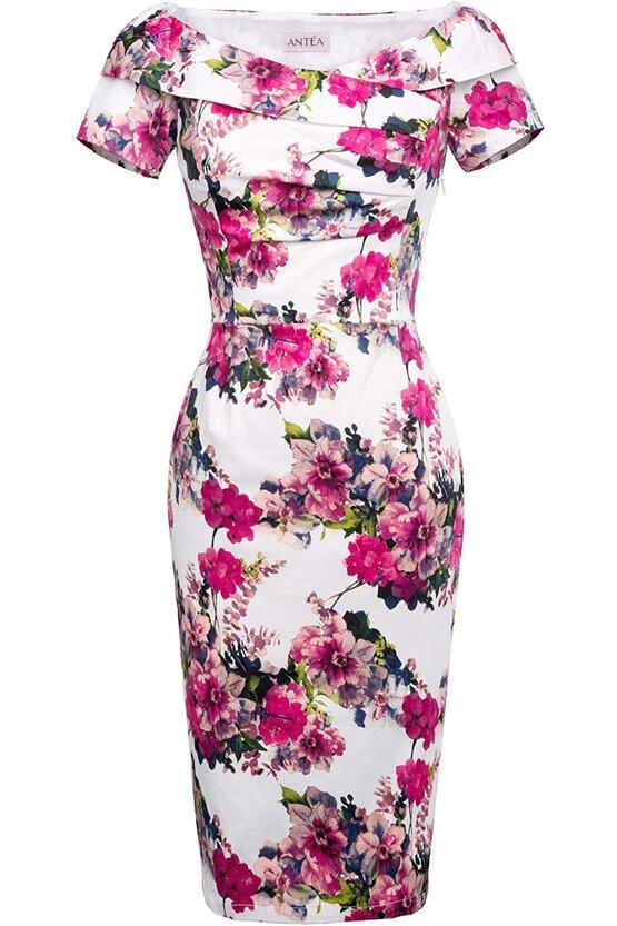 Rochie Elena roz floral 5732