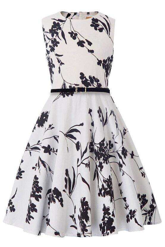 Rochie Ioana alba cu flori negre 5915