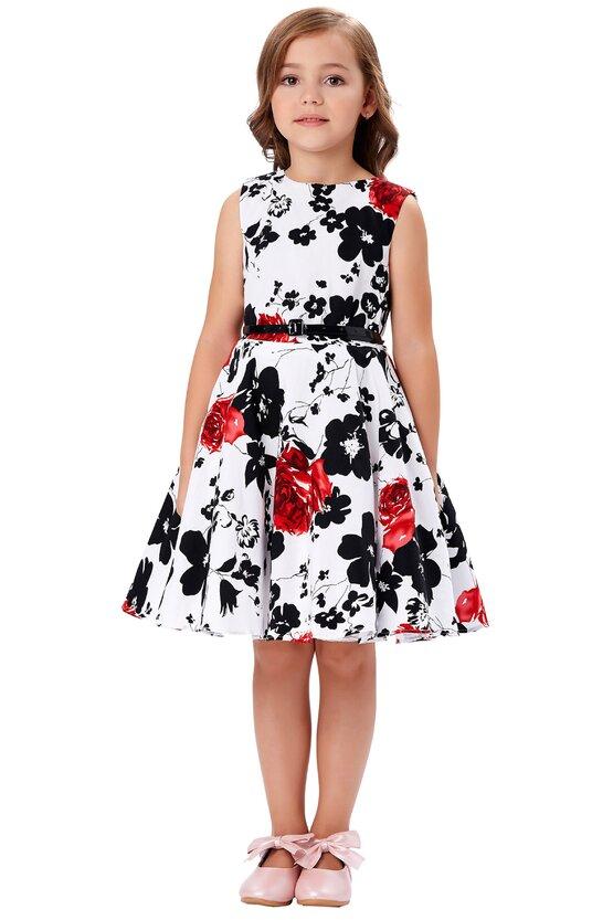 Rochie Ioana cu flori negre si rosii 5426