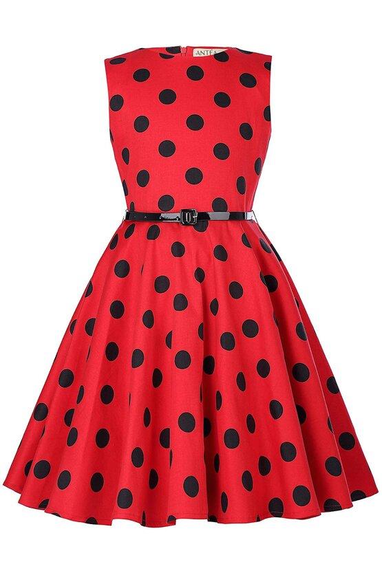 Rochie Ioana rosie cu buline negre 5936