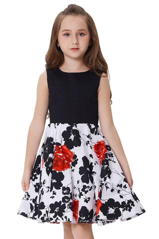 Rochie Karina alba cu flori negre si rosii 5105