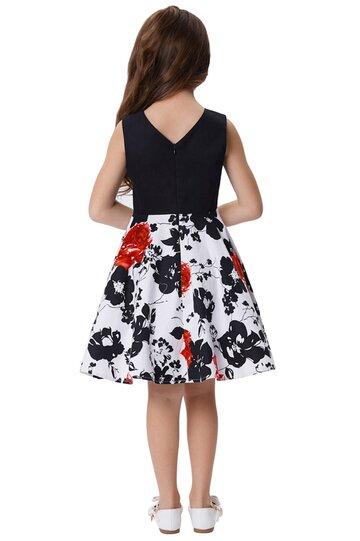 Rochie Karina alba cu flori negre si rosii