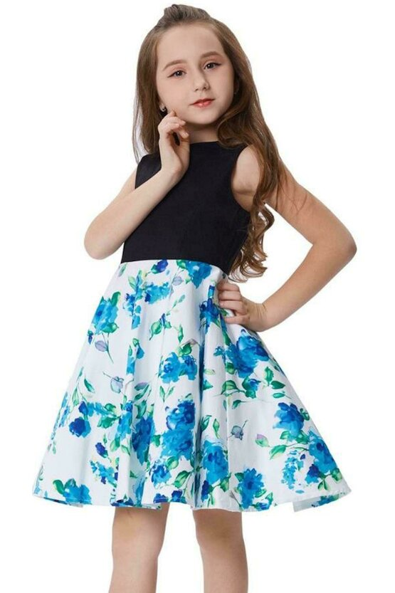 Rochie Karina alba cu flori verzi-albastre 5186