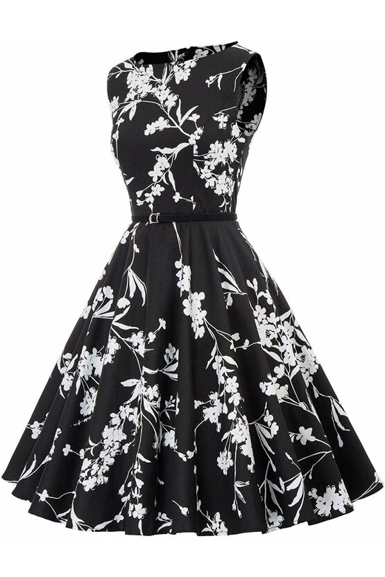 Rochie Margareta neagra cu flori albe 4103