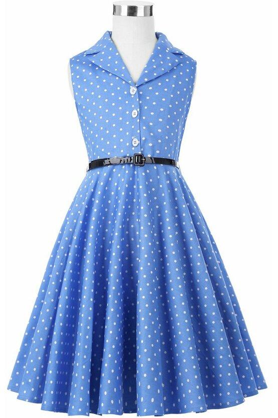 Rochie MIrabela albastra cu buline albe 4892