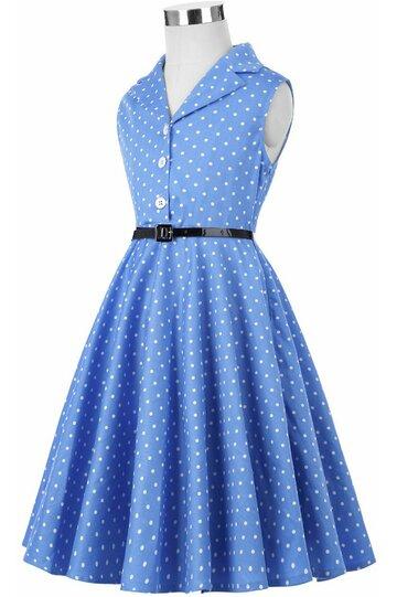 Rochie MIrabela albastra cu buline albe