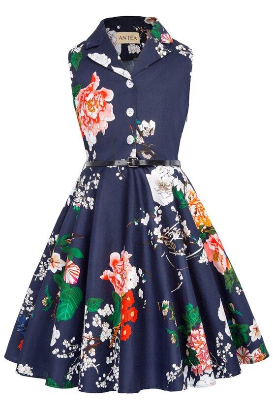 Rochie Mirabela albastra cu flori multicolore 5879