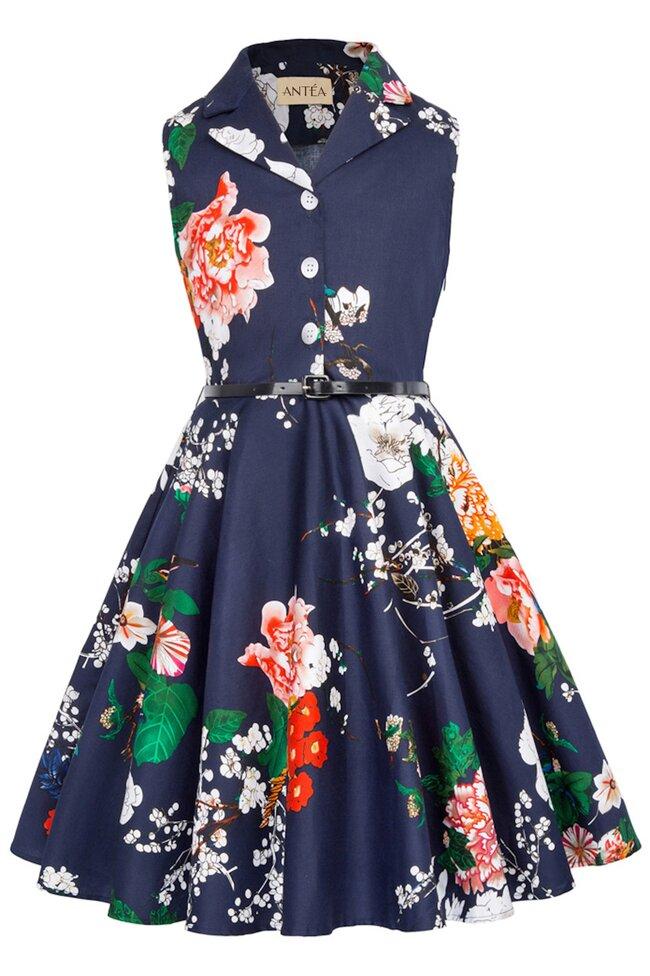 Rochie Mirabela albastra cu flori multicolore