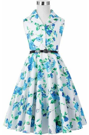 Rochie Mirabela cu flori albastre verzi