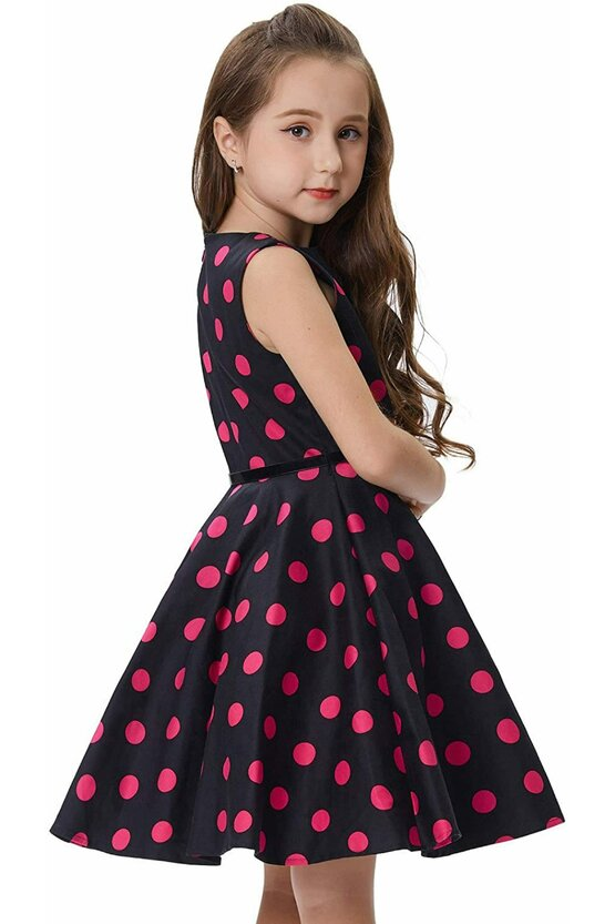Rochie Mirabela neagra cu buline roz 5048