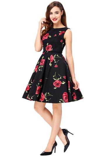 Rochie retro Margareta neagra cu trandafiri
