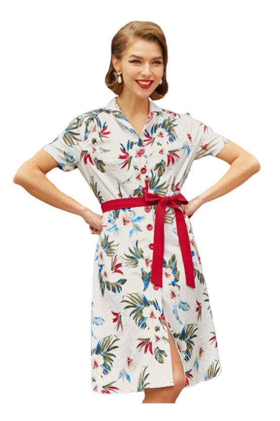 Rochie retro Tina floral-alb 3728