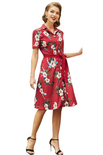 Rochie retro Tina floral-rosu