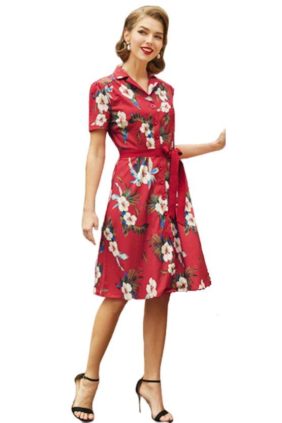 Rochie retro Tina floral-rosu 3794