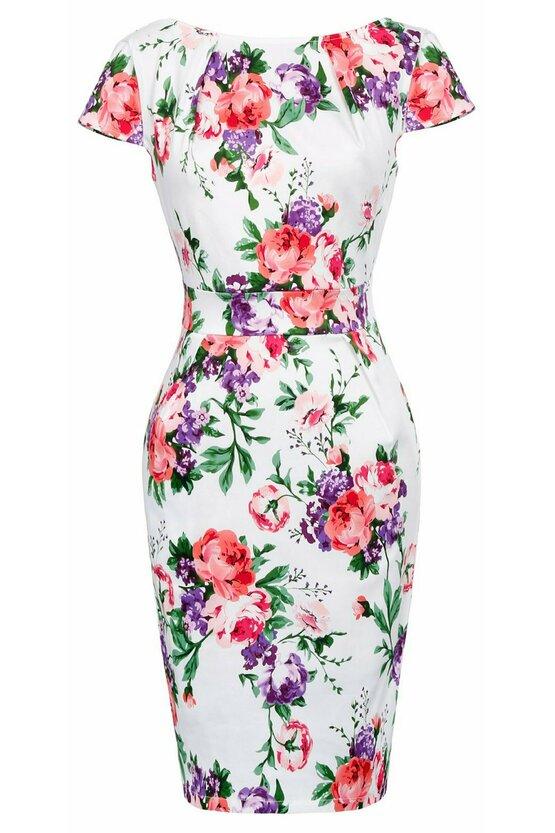 Rochie Roma alb floral 3461