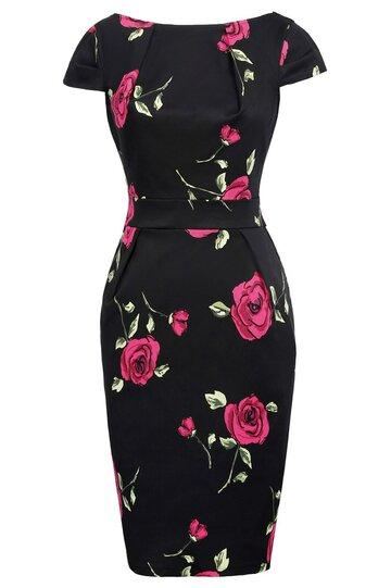 Rochie Roma negru floral