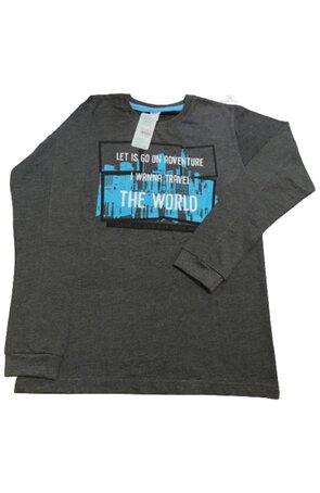 Bluza trening AJS World pentru copii, Grafit, 100% bumbac
