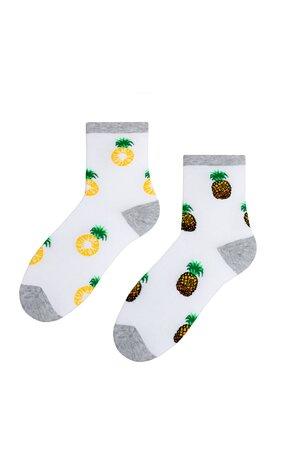 Șosete albe cu ananas S159-013