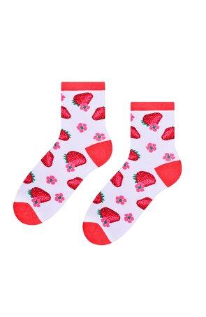 Șosete albe cu căpșuni S159-025