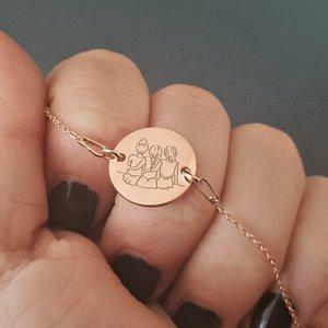 Bratara 3 surori / prietene cu lantisor - Argint 925 placat cu Aur roz 14K