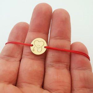 Bratara banut - Stetoscop sub forma unei inimi - Aur Galben 14K - snur reglabil