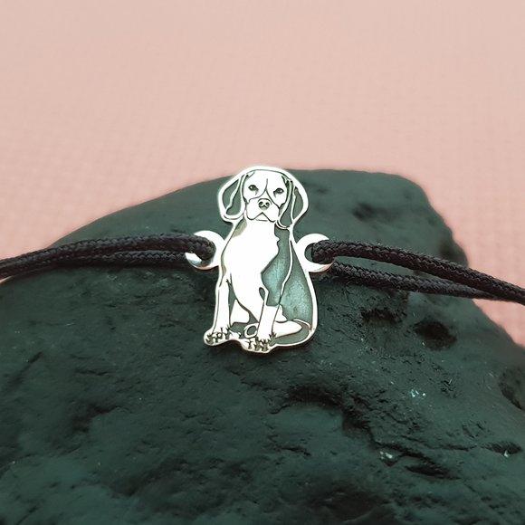 Bratara Beagle - Argint 925, snur reglabil