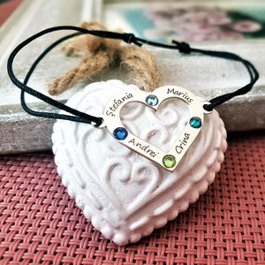 Bratara personalizata - Iubire nelimitata - Inima cu 4 nume gravate si cristale Swarovski - Argint 925, snur reglabil