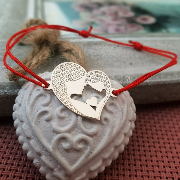 Bratara Inima - Mama si fiica - Argint 925, snur reglabil