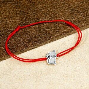 Bratara Pisica cu papion - Argint 925 - cristal Swarovski - snur reglabil