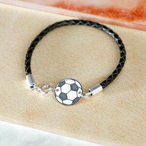 Bratara minge de fotbal - Argint 925 - piele impletita