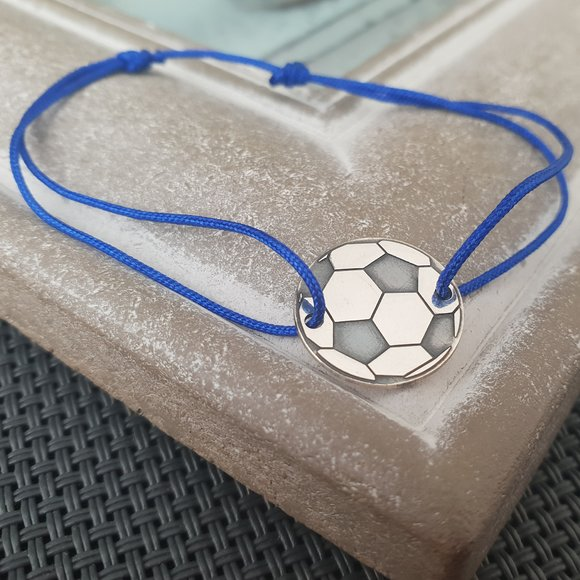Bratara Minge Fotbal - Argint 925, snur reglabil