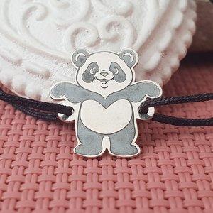 Bratara Panda - Argint 925, snur