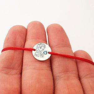 Bratara personaj - Elsa - banut de 12 mm - Argint 925 - cristal Swarovski - snur reglabil