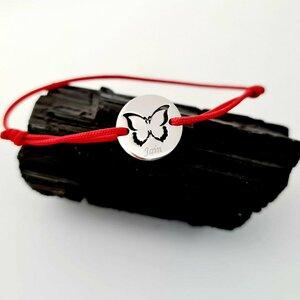 Bratara personalizata cu nume - Fluture decupat - Aur Alb 14K - Banut 12 mm diametru - snur reglabil