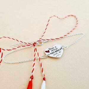 Bratara personalizata - Educatoare/Invatatoare - Inima decorata cu email - Argint 925 - cu lantisor