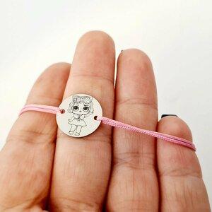 Bratara personalizata - Papusa LOL - banut de 15 mm - Argint 925 - snur reglabil