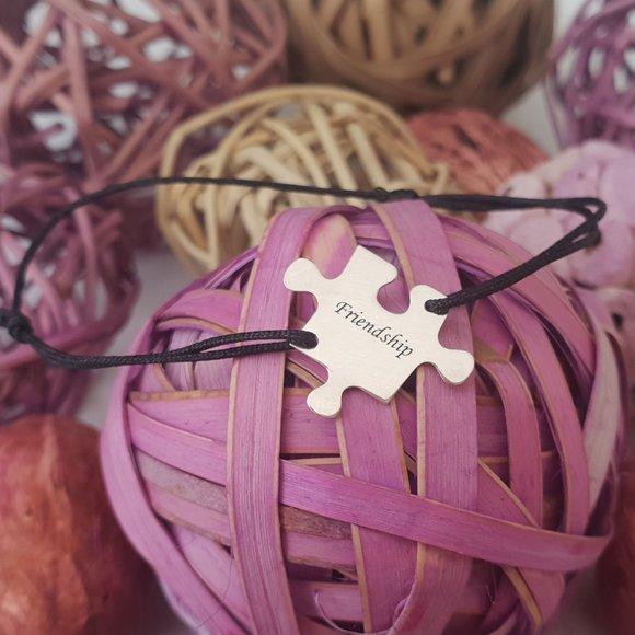 Bratara personalizata - Piesa de puzzle - Argint 925, snur reglabil