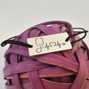 Bratara personalizata placuta - Stetoscop si bataia inimii - Argint 925, snur reglabil diverse culori