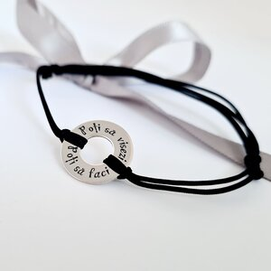 Bratara personalizata - Roata norocului - Argint 925 - snur reglabil