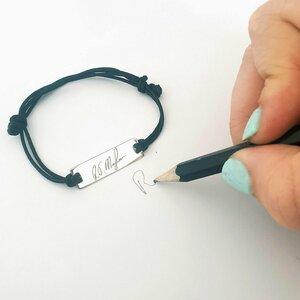 Bratara personalizata - Semnatura sau gravura scrisului de mana -  Placuta Argint 925 - Snur reglabil