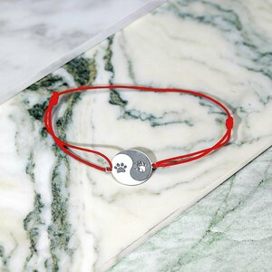 Bratara Yin&Yang - Labuta si Mana - Argint 925, snur negru