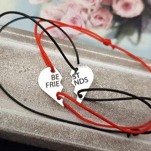 Bratari Best Friends - doua jumatati de inima - Argint 925, snur