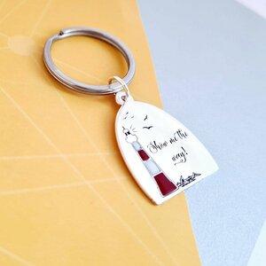 Breloc personalizat - Far decorat cu email - Argint 925 - inel otel inoxidabil