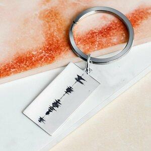 Breloc placuta gravata cu amprenta vocala- Argint 925